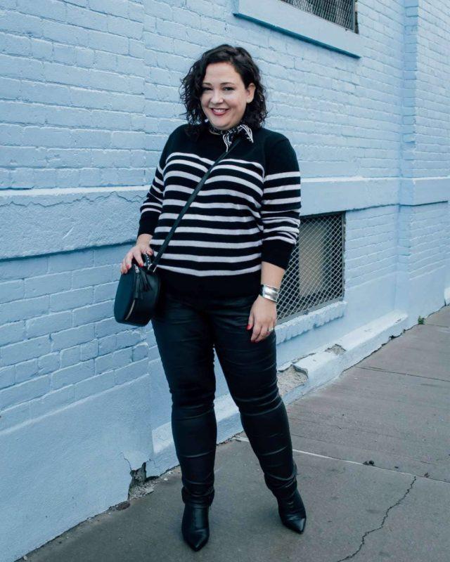 ASOS cashmere breton sweater in black and white stripes