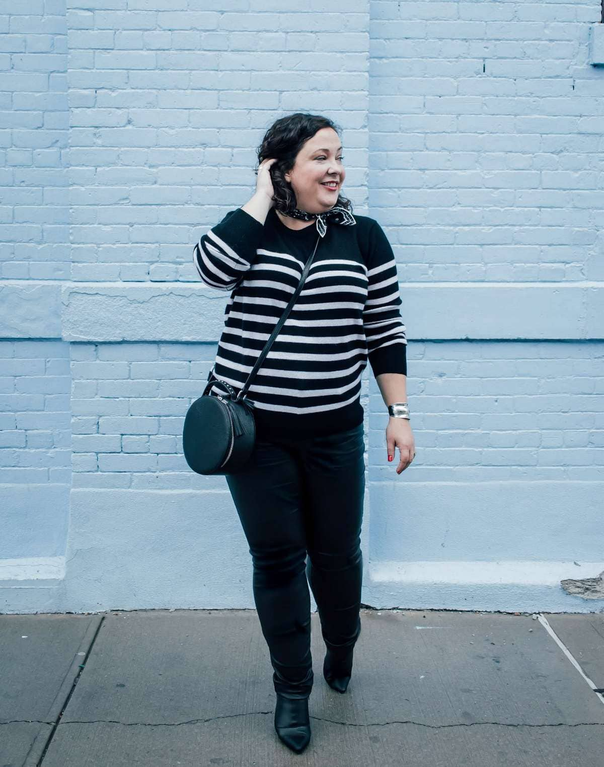 asos cashmere sweater in black and white stripe on wardrobe oxygen