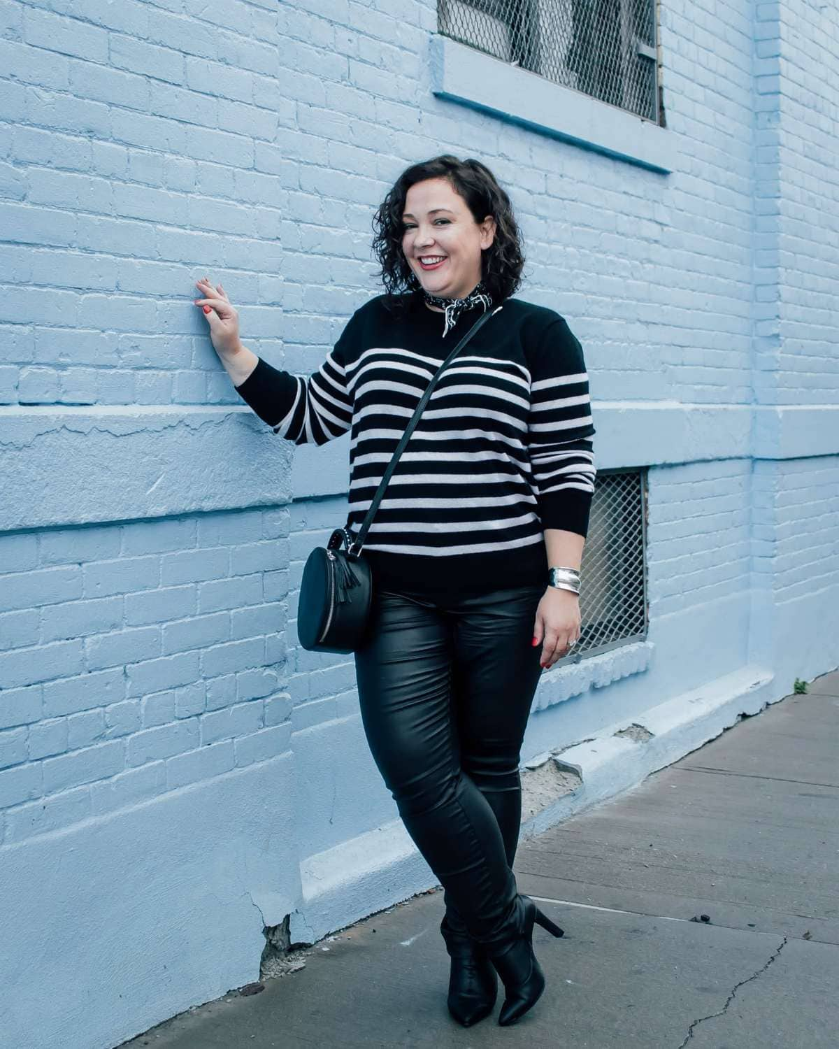 Wardrobe Oxygen in a black and white breton sweater in cashmere from ASOS