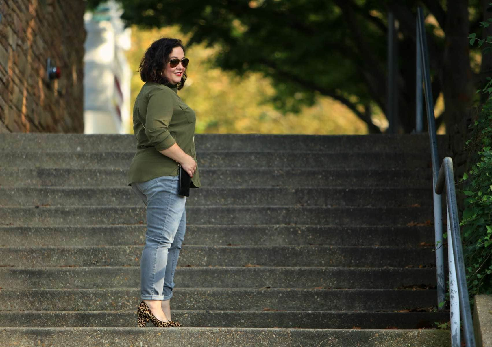 Wardrobe Oxygen in Chico's Silky Soft Shirt and So Slimming Girlfriend Jeans in Lava Wash