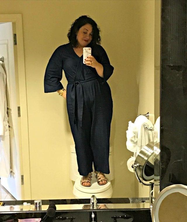 eloquii review denim jumpsuit