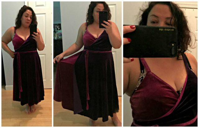 eloquii velvet wrap dress review
