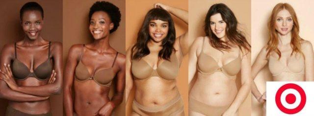 target shades of nude bras for brown skin tones