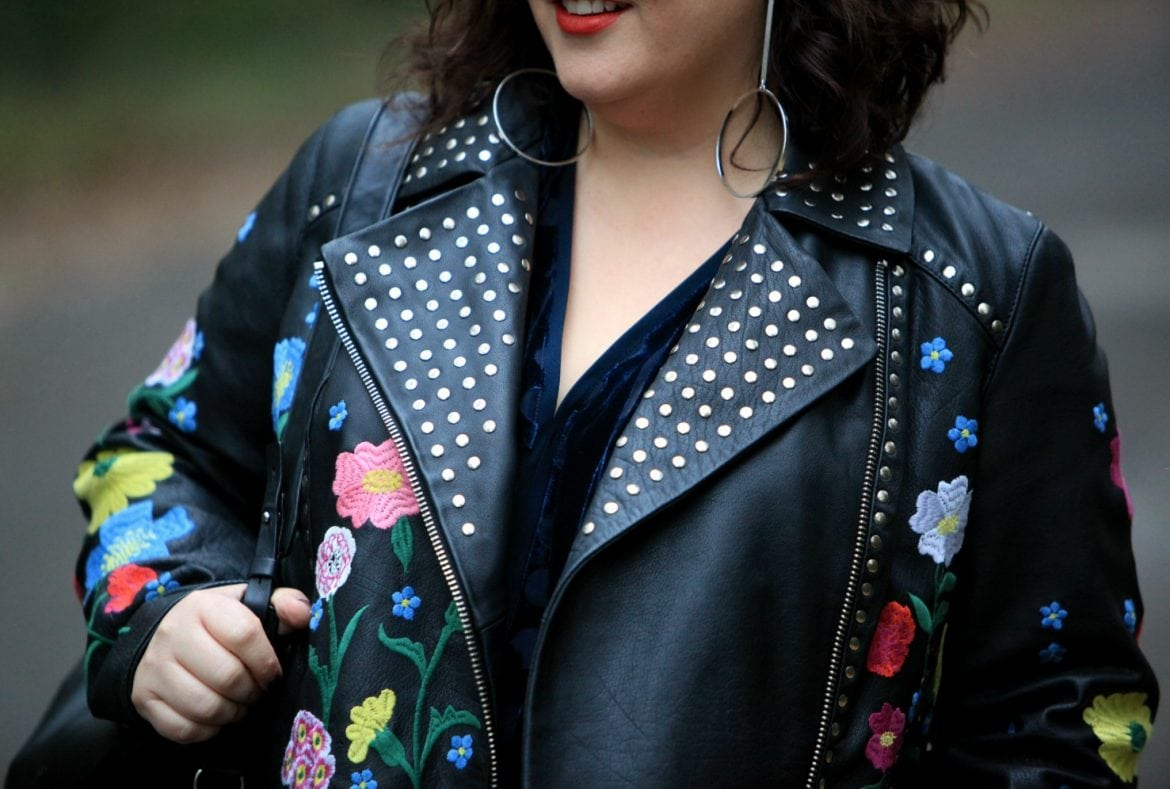 asos embroidered leather jacket