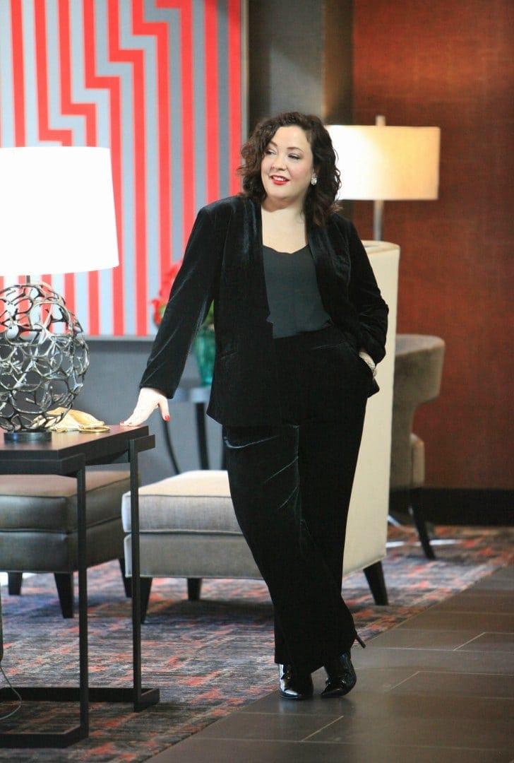 black velvet plus size pantsuit