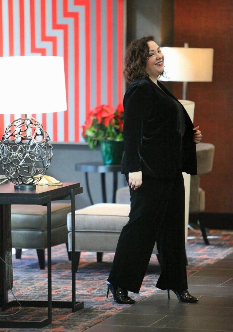 ellos black velvet plus size pant suit