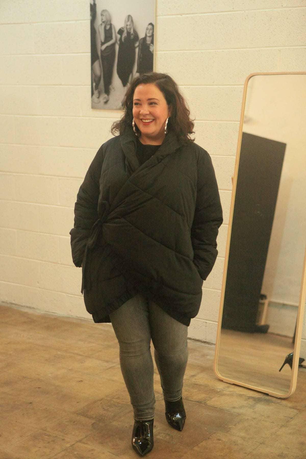 universal standard black puffer coat
