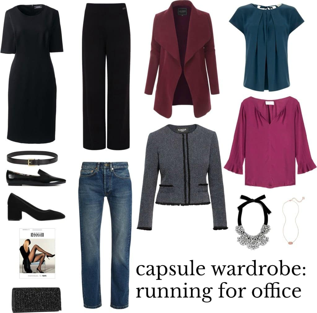 capsule wardrobe fopr running for office. style and grooming tips for the female candidate