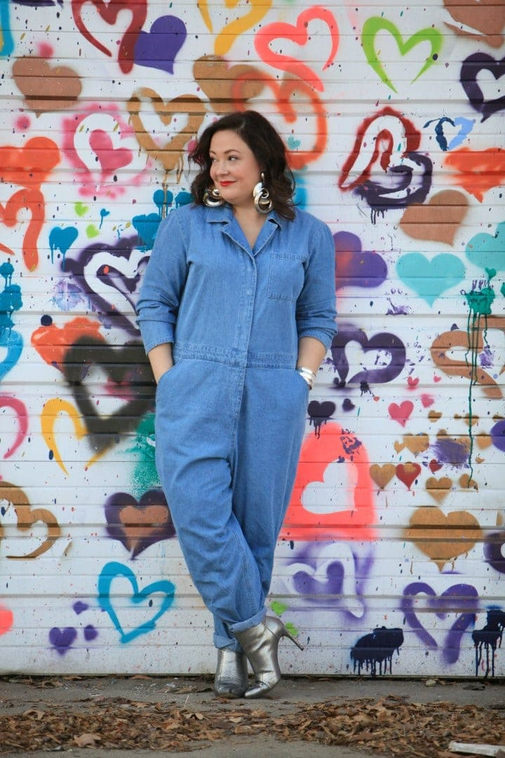denim plus size coveralls