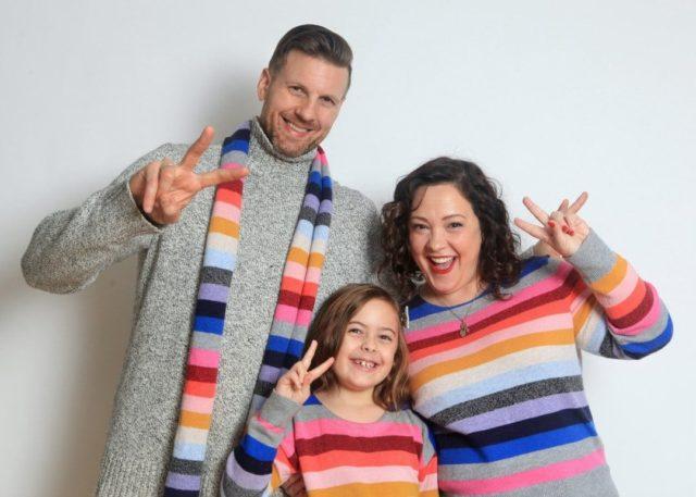 Gap crazy stripe sweaters worn in a holiday card by Wardrobe Oxygen