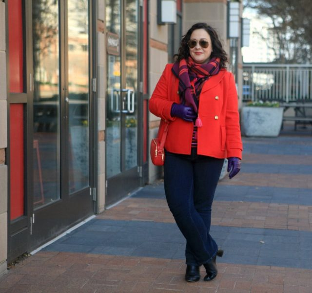 Wardrobe Oxygen in a red Talbots peacoat, plaid scarf, and purple leather gloves with Talbots Flawless Fit bootcut jeans