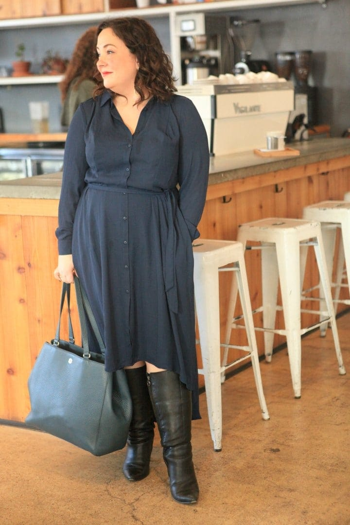 girl with curves for dial navy shirtdress