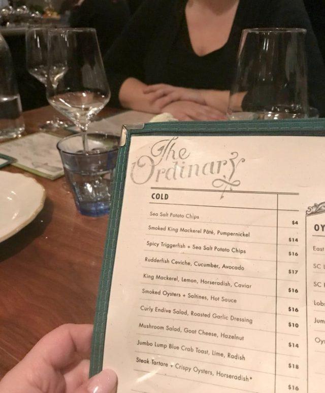 the ordinary charleston menu