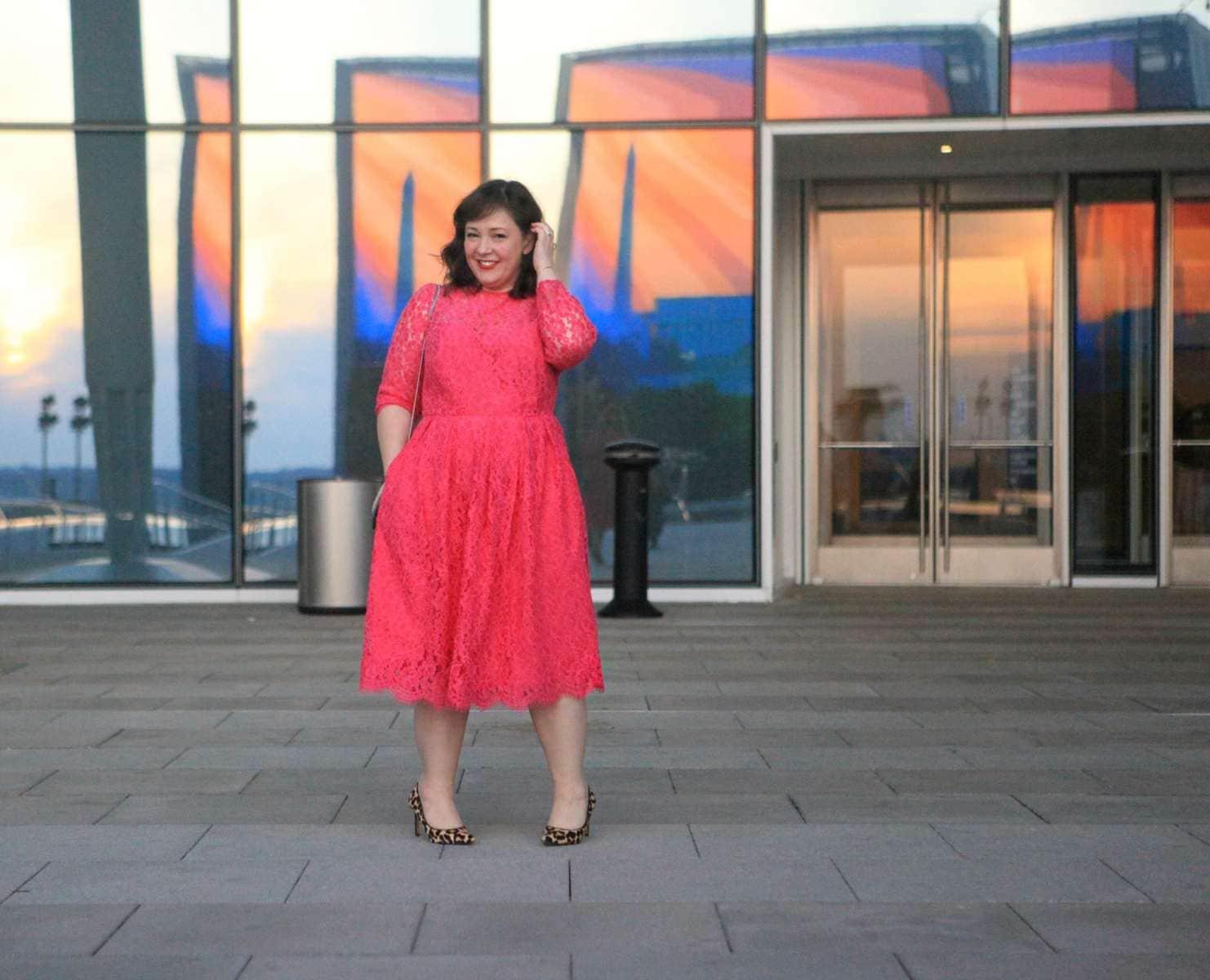 eloquii hot pink lace dress