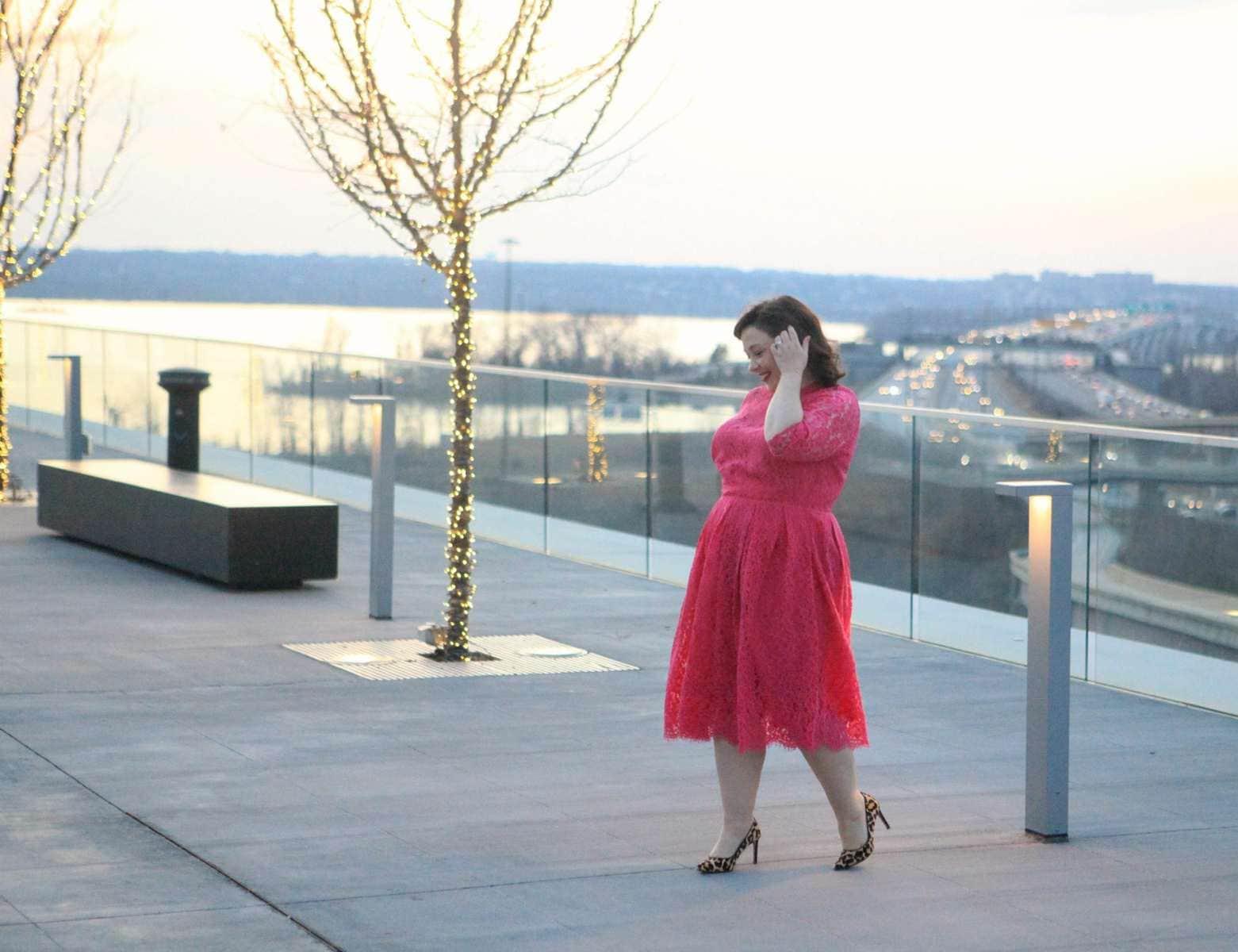 eloquii pink lace midi dress