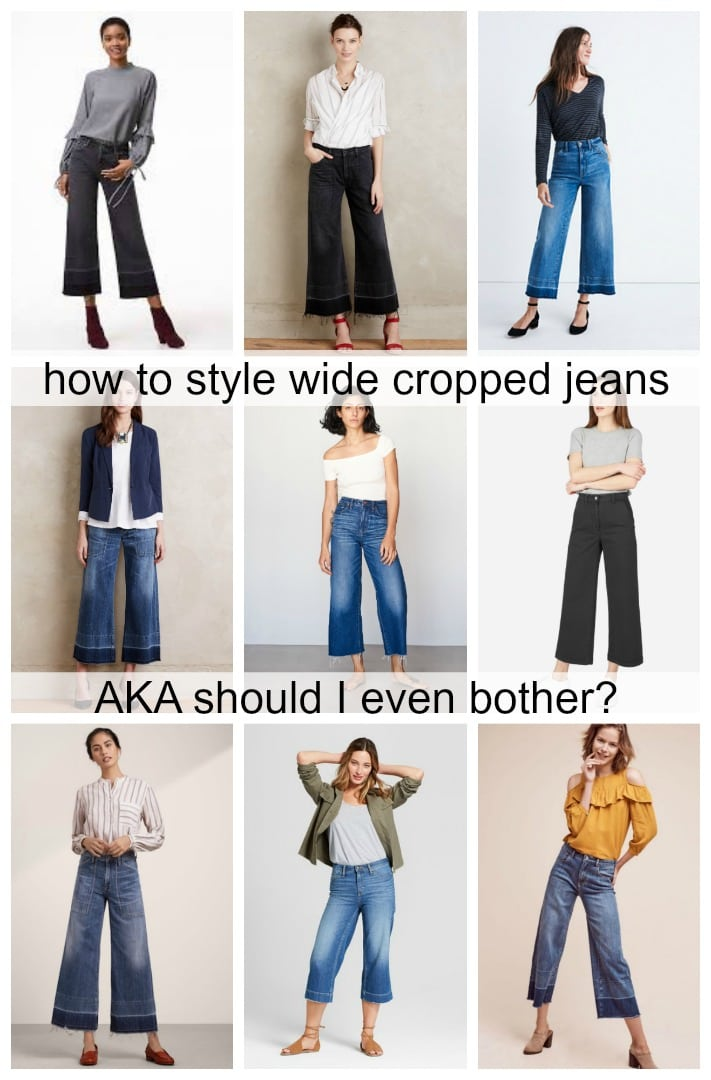 Collage of nine women wearing cropped wide leg jeans featured by popular DC petite fashion blogger, Wardrobe Oxygen