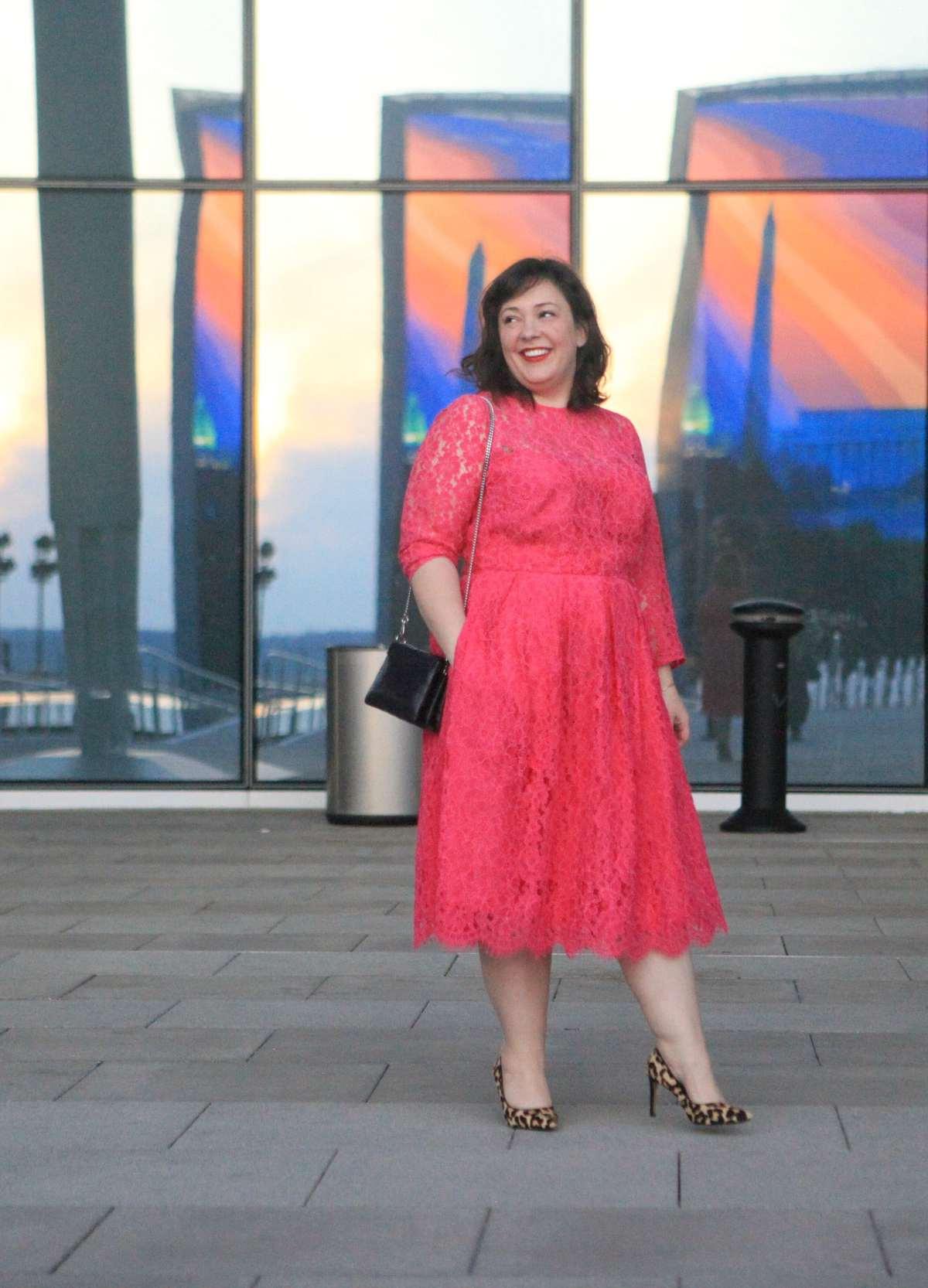 pink lace eloquii dress
