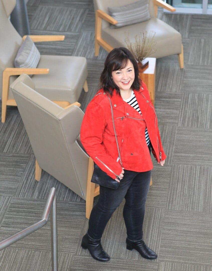 red suede biker jacket