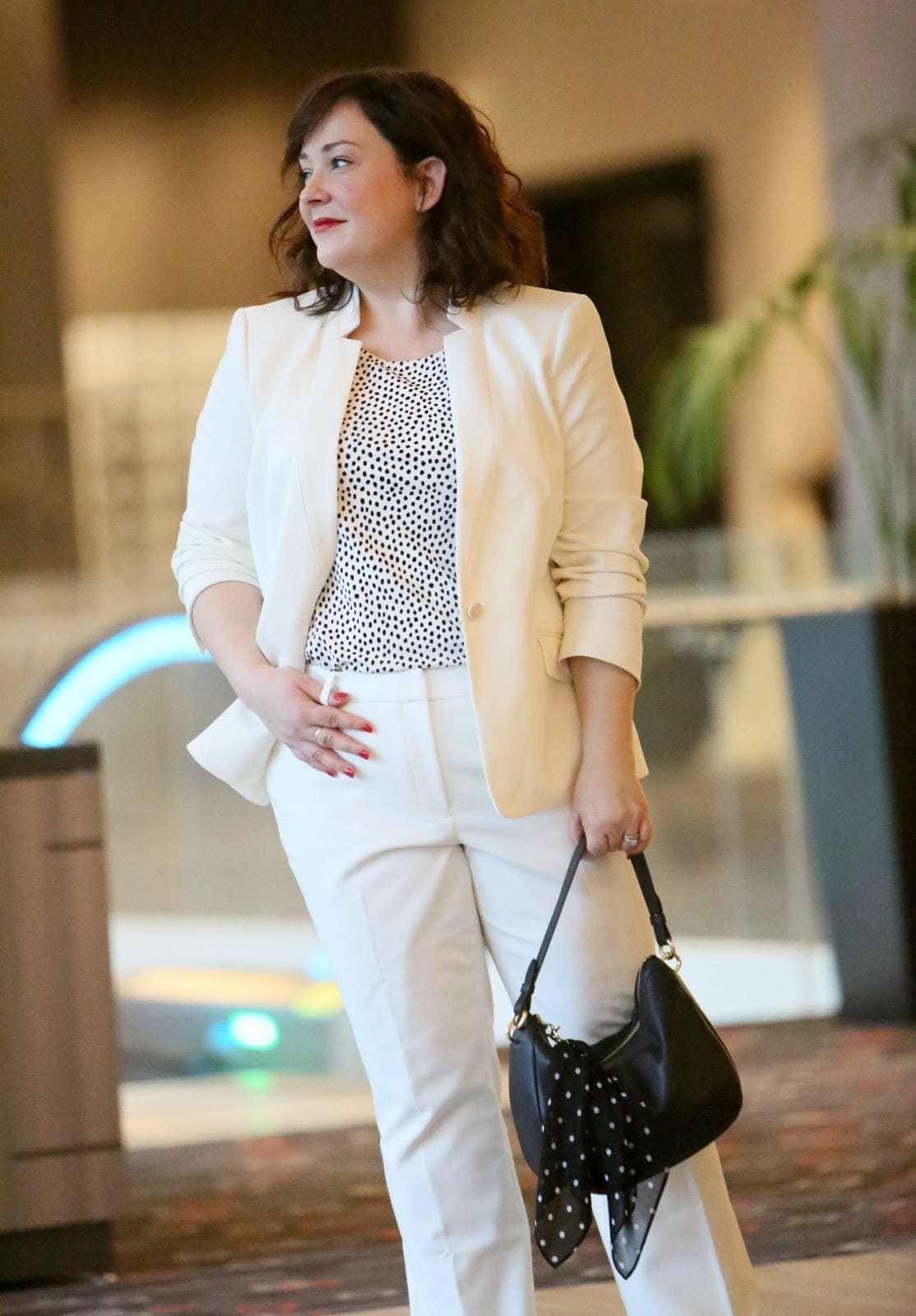 white pantsuit plus size