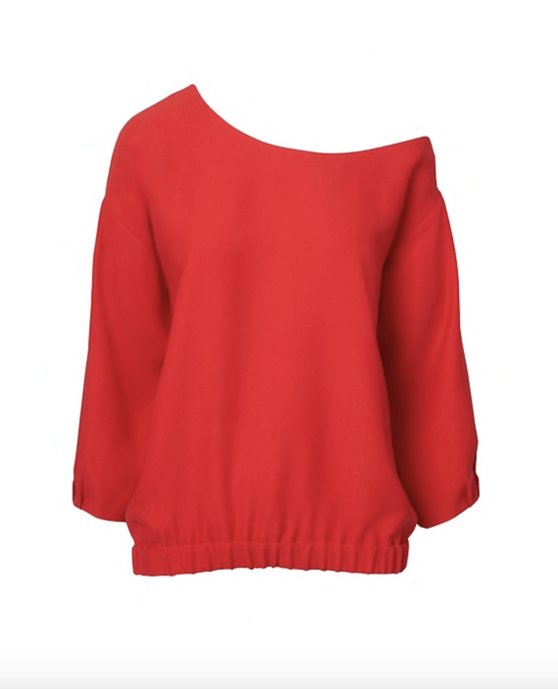 Banana Republic One-Shoulder Blouse in popsicle red