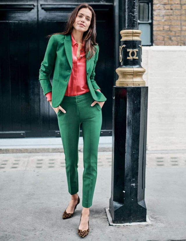 bode green ponte pantsuit