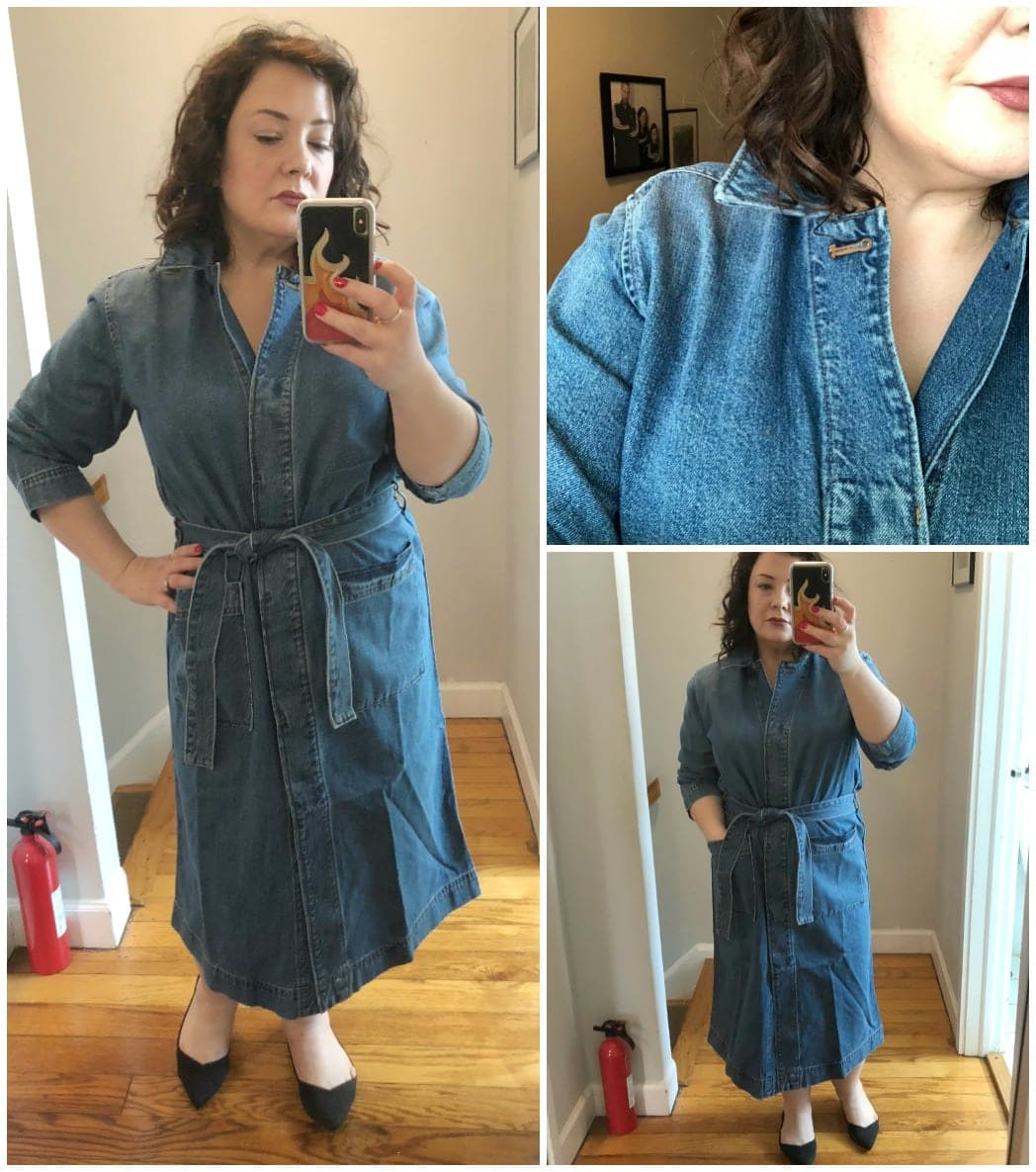madewell denim duster trench dress review