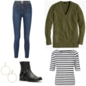 Styling pieces from a work from home capsule wardrobe featuring skinny stretch jeans, Breton tee, tunic sweater, harness boots, and Argento Vivo gold statement earrings.