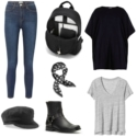 Capsule wardrobe for the teleworker featuring a black poncho tunic, skinny stretch jeans, and black accessories.