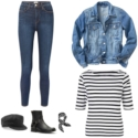 Casual weekend or work from home outfit featuring stretchy skinny jeans, a denim jacket, Breton tee, black and white printed bandana, black harness boots, and black baker boy cap
