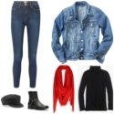 Casual work from home style featuring leggings, a Madewell denim jacket, layering turtleneck, baker boy cap, black harness boots, and a red passim scarf looped around the neck.