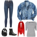 Casual work from home look featuring leggings, a denim jacket, Breton stripe top, black harness boots, a black Dagne Dover backpack, and are pashmina looped around the neck.