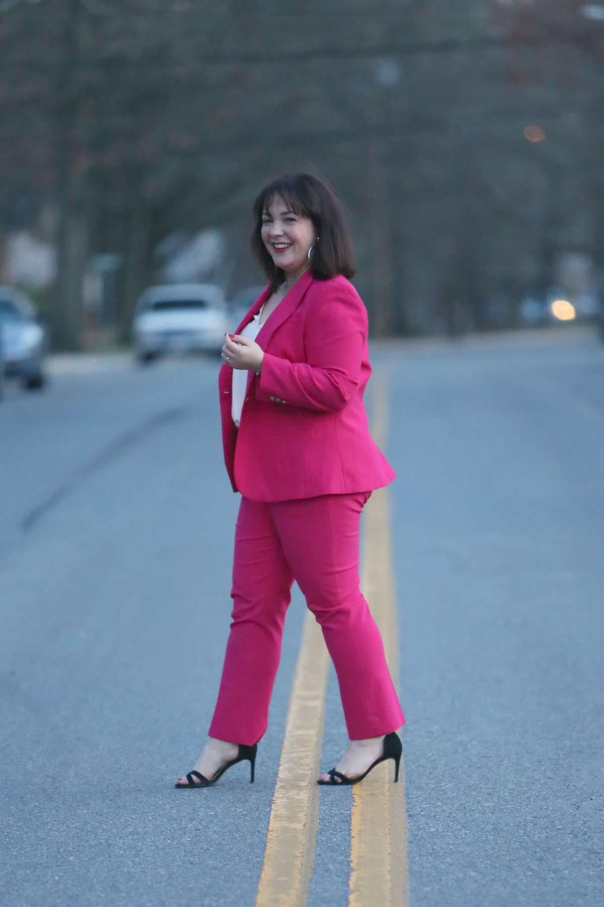 pink pantsuit size 14