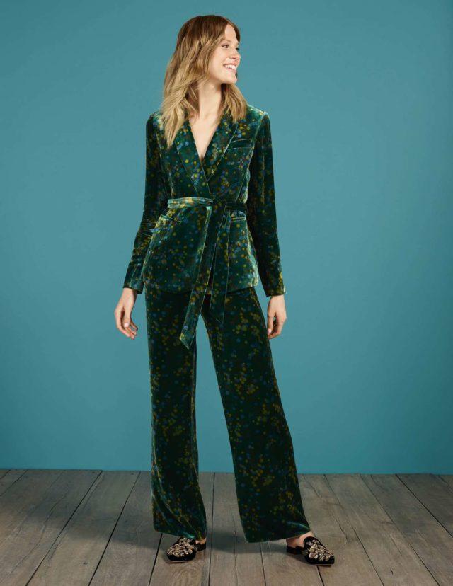 roberta velvet pantsuit from boden in green
