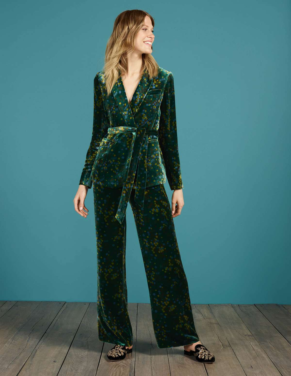 roberta velvet pantsuit from boden in green