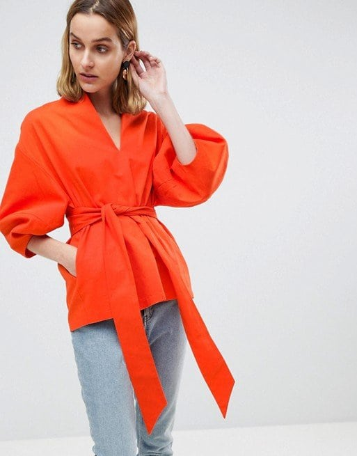 ASOS WHITE Cotton Twill Structured Sleeve Two-Piece Top in Orange