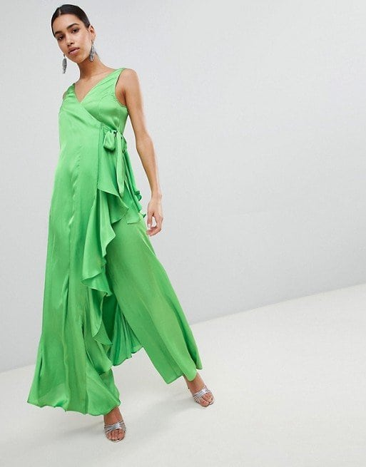 ASOS Satin Jumpsuit with Waterfall Wrap in Green