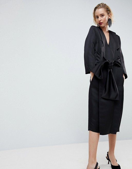 ASOS White Satin Kimono Dress in Black