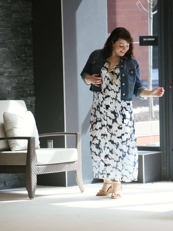 Wardrobe Oxygen in the cabi Spring 2018 Shirt Dress and Dakota Jacket