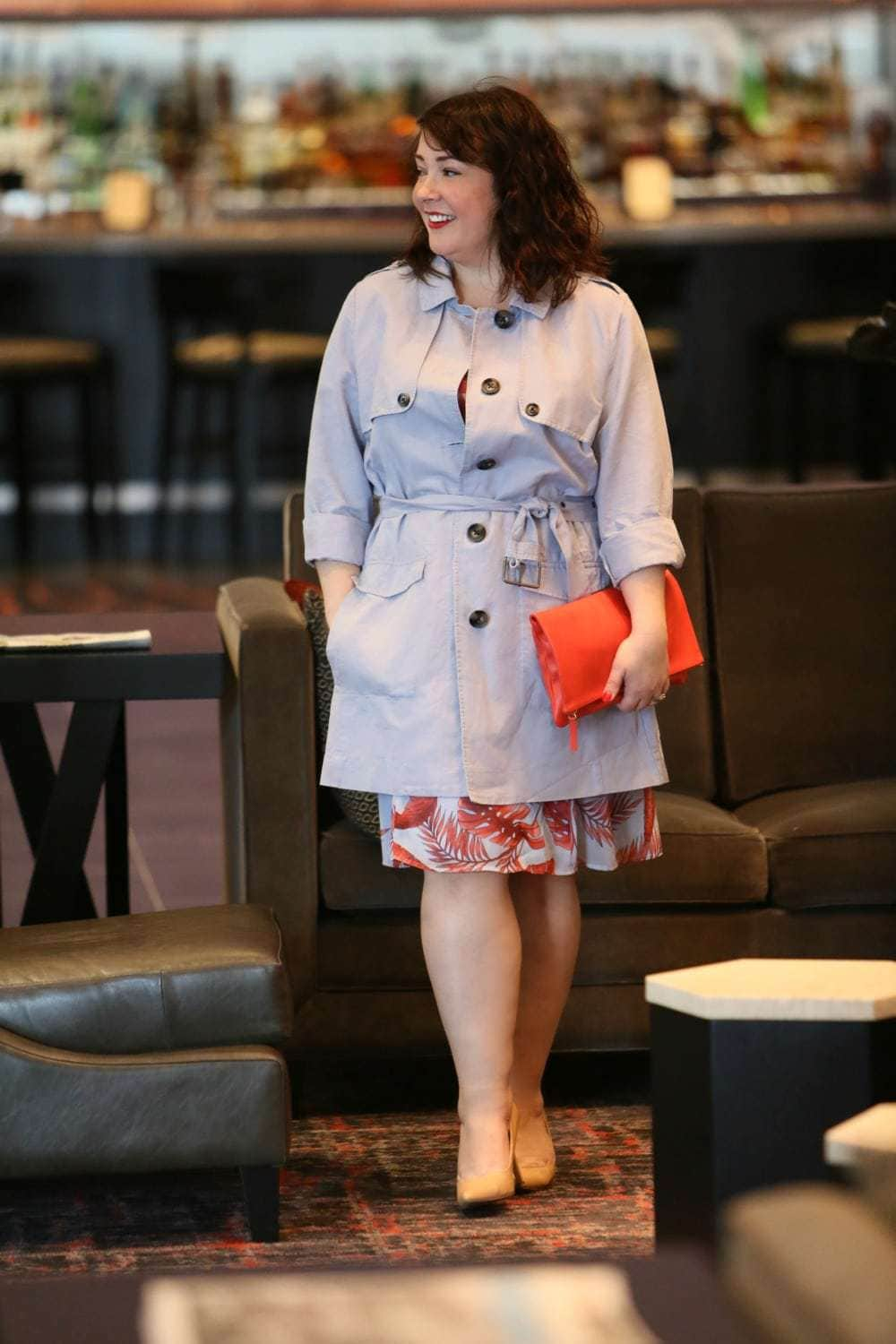 Wardrobe Oxygen in the cabi Spring 2018 Isabel Dress and Tanner Trench