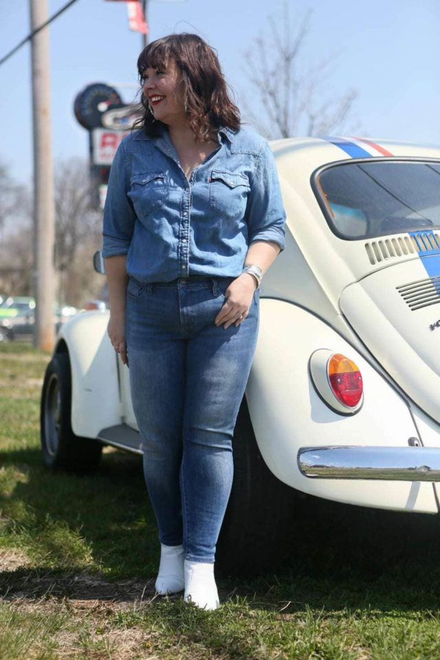 Denim on Denim outfit styled by popular Washington DC petite fashion blogger, Wardrobe Oxygen