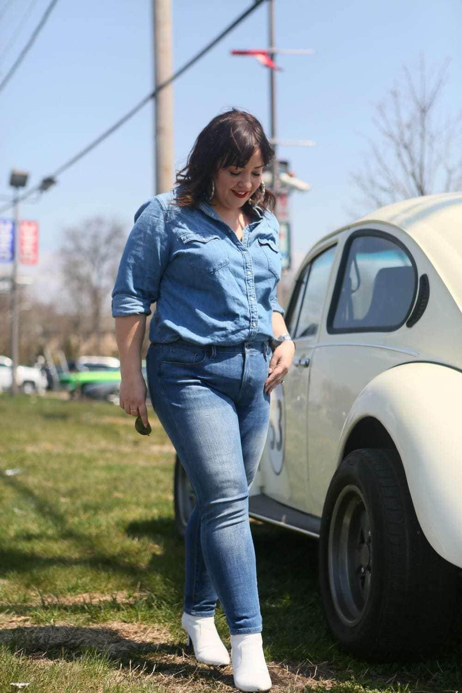 Denim on Denim outfit styled by popular Washington DC petite fashion blogger, Wardrobe Oxygen