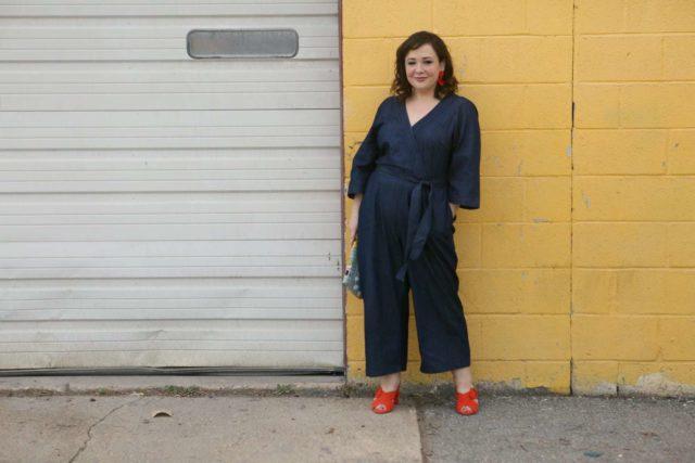 Plus size denim jumpsuit from ELOQUII as seen on Wardrobe Oxygen #XOQ - ELOQUII Denim Jumpsuit styled by popular Washington DC petite fashion blogger, Wardrobe Oxygen