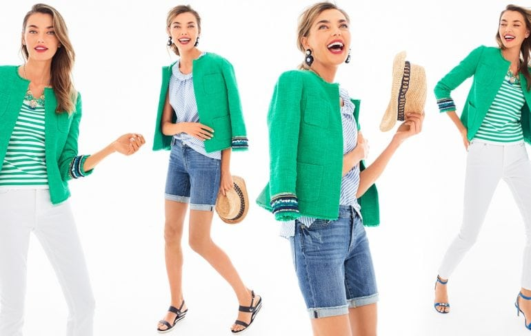 talbots green jacket summer 2018 Chanel inspired - Friends & Family Talbots Sale featured by popular Washington DC petite fashion blogger, Wardrobe Oxygen