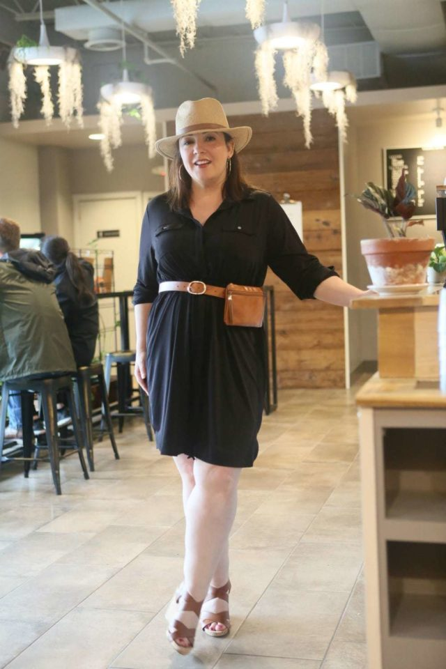 Black petite plus size shirtdress from NY Collection via Macy's as seen on Wardrobe Oxygen - Summer Travel Style with Macy's x NY Collection featured by popular Washington DC fashion blogger, Wardrobe Oxygen