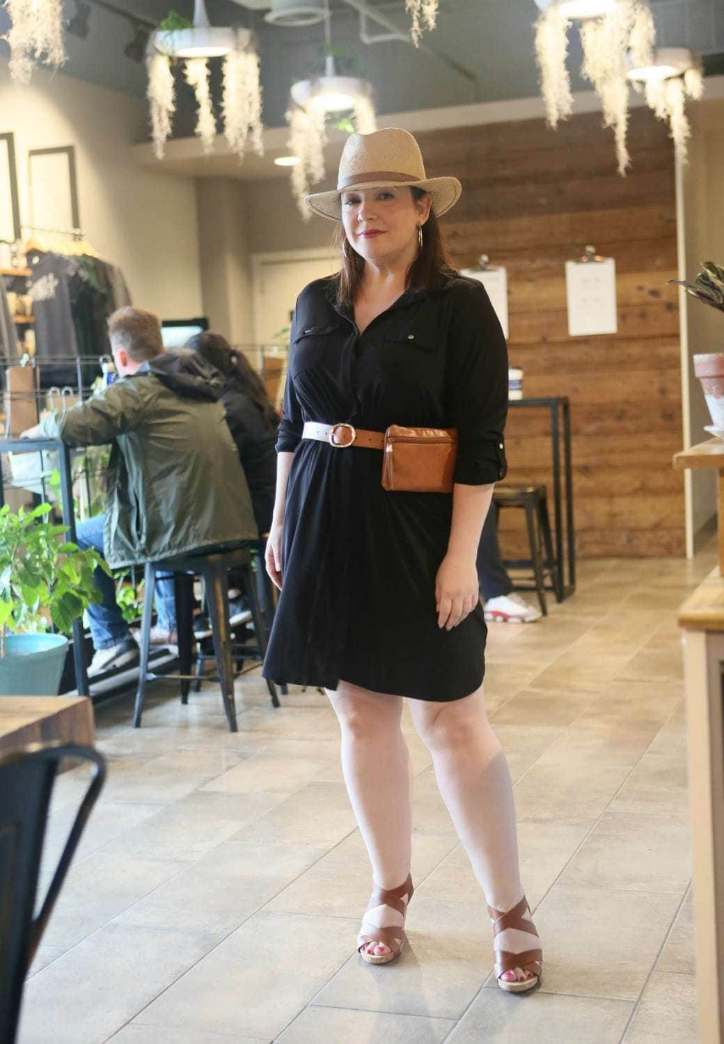 Black petite plus size shirtdress from NY Collection via Macy's as seen on Wardrobe Oxygen - Summer Travel Style with Macy's x NY Collection featured by popular Washington DC petite fashion blogger, Wardrobe Oxygen