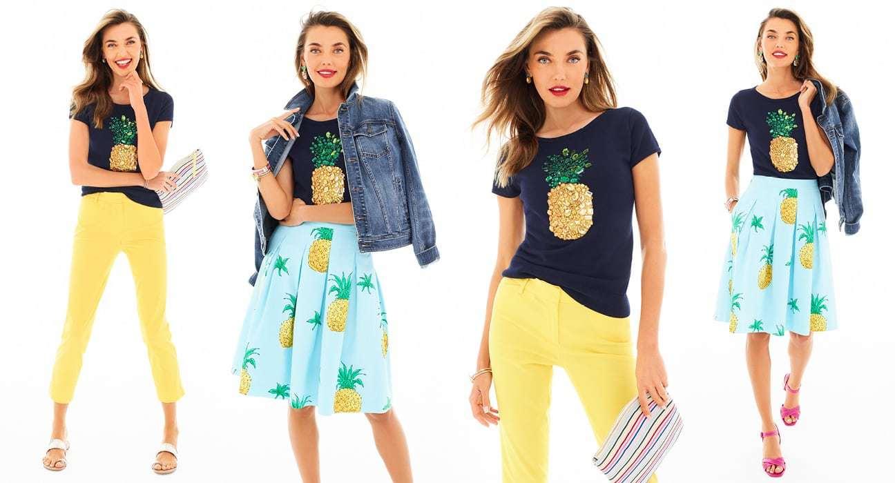 Talbots pineapple embellished sweater summer 2018 - Friends & Family Talbots Sale featured by popular Washington DC petite fashion blogger, Wardrobe Oxygen