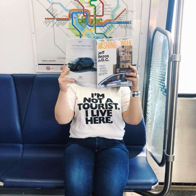 Washingtonian I'm Not a Tourist I Live Here T-Shirt on Alison Gary of Wardrobe Oxygen