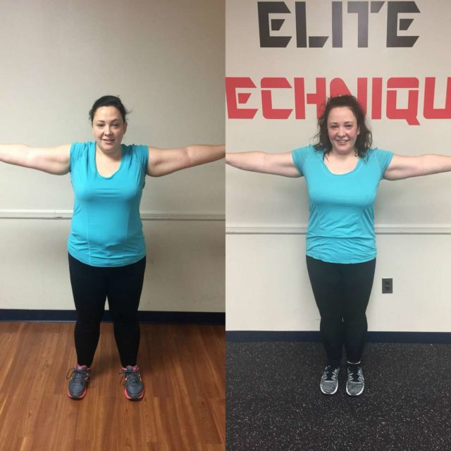 Image is of two photos. On the left, Alison Gary in December wearing a turquoise shirt and black pants, her arms flexing to show bicep muscles. On the left, the same but Alison in May. The side by side shows her body is slimmer, her stomach firmer.