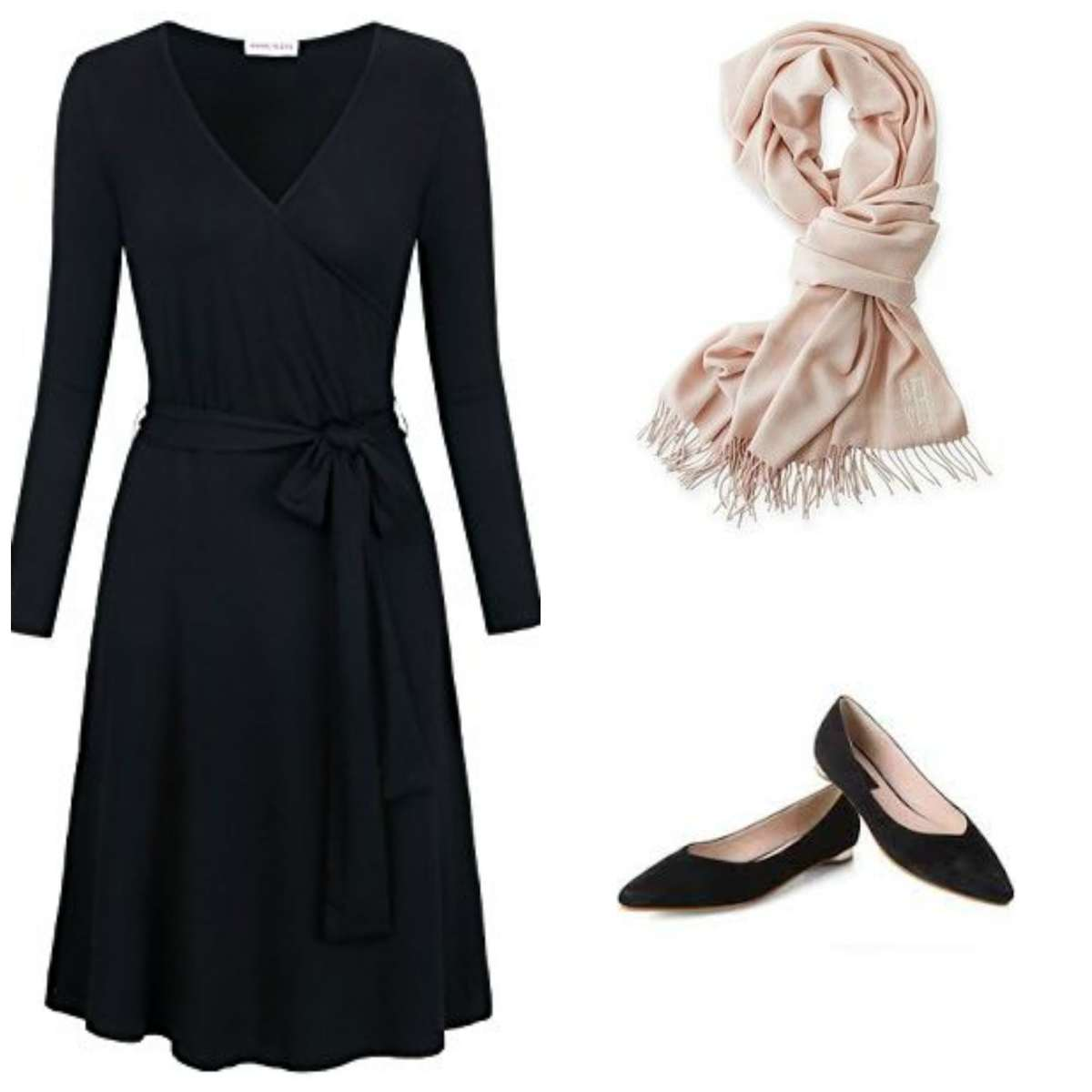 Travel look from the capsule wardrobe: a black matte jersey wrap dress with a cream pashmina and black flats