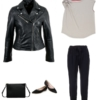 The same look as seen before, but by switching the sneakers for pointed toe flats and a backpack for a clutch you're ready for a night out.
